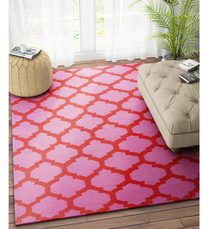 Pink Wool 48 x 72 Inch Trellis Handwoven Dhurrie by Imperial Knots