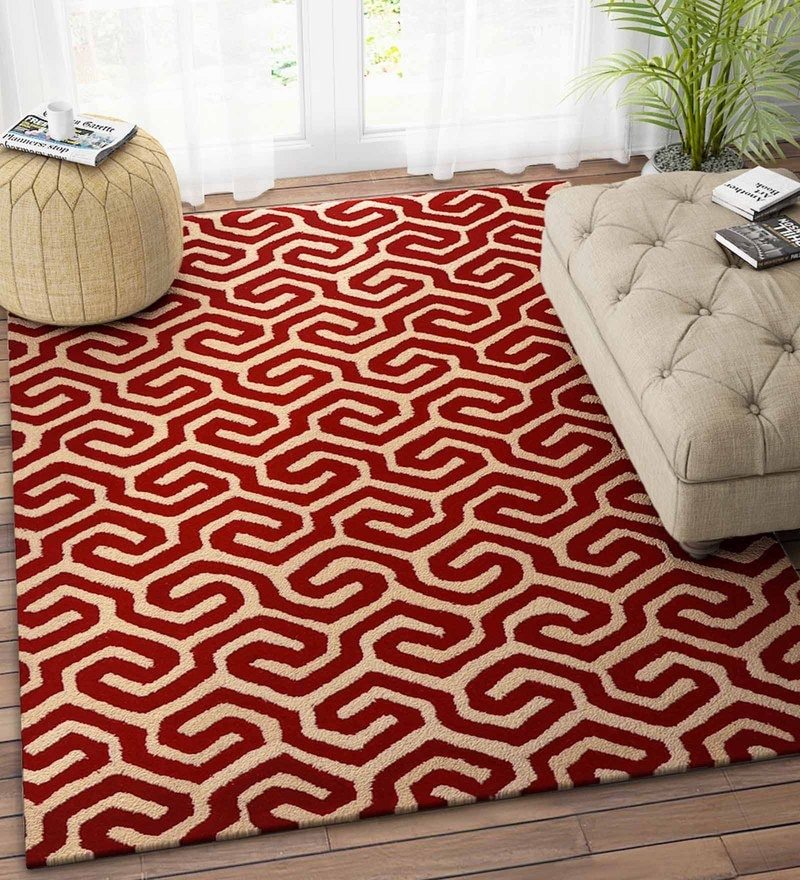 Imperial Knots Red Wool 48 x 72 Inch Grid Carpet