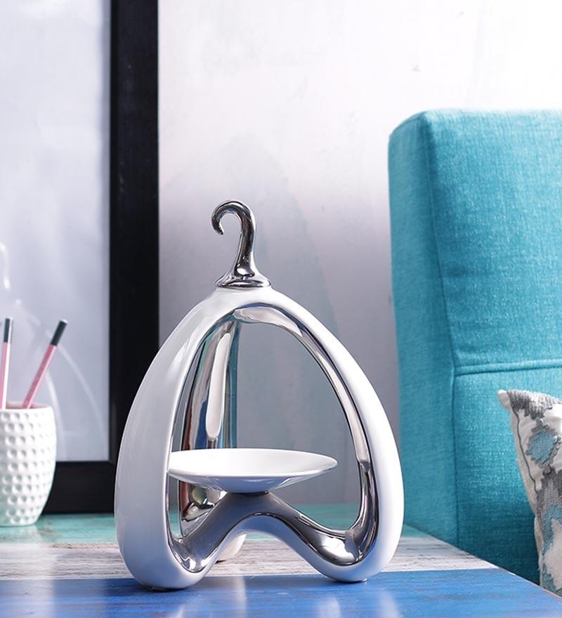 Importwala - Ceramic Hanging Candle Holder ( Silver )
