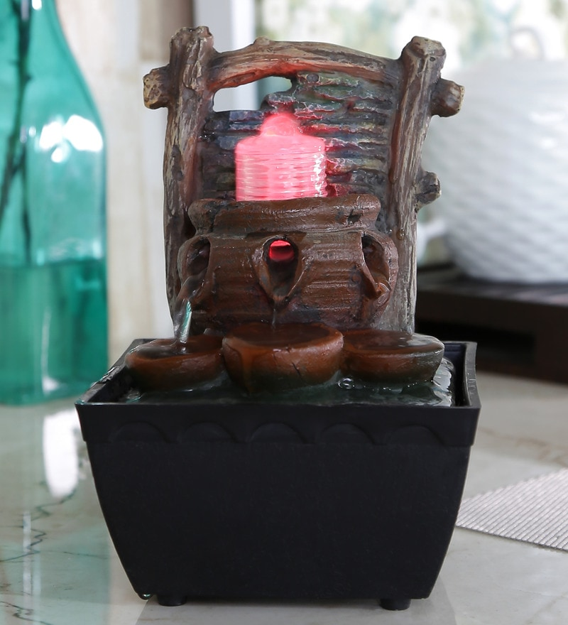 Importwala Log Brown Polyresin LED Fountain