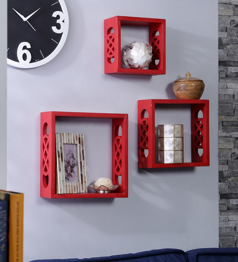 Importwala Red MDF Contemporary Wall Shelf - Set of 3