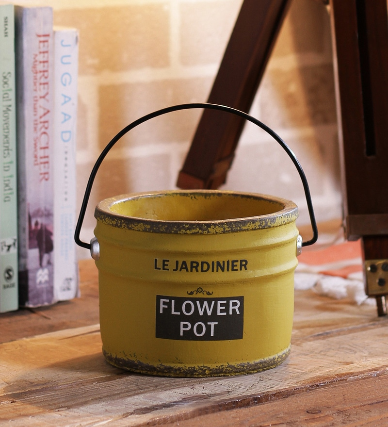 Importwala Yellow Ceramic Vintage French Planter with Handle