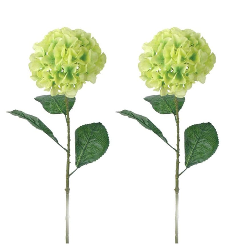 Importwalas Hydrangea Artificial Stick Set Of 2 - Green