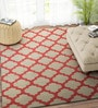 Beige & Red Wool 96 x 60 Inch Dhurrie by Imperial Knots