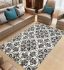 Black & White Wool 96 x 60 Inch Floral Hand Tufted Carpet by Imperial Knots
