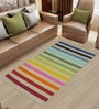 Imperial Knots Multicolour Cotton 60 x 36 Inch Stripes Rectangular Hand Woven Area Rug