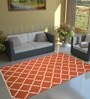 Imperial Knots Orange & Ivory Wool 96 x 60 Inch Trellis Handwoven Flat weave Area Rug