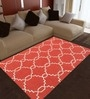 Imperial Knots Red Wool 72 x 48 Inch Handmade Trellis Area Rug