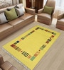 Imperial Knots Yellow Woolen Abstract Rectangular Hand Woven Rug