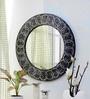Black Glass & Wood Wall Mirror by Importwala