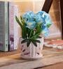 Blue Ceramic Flowers in Pot by Importwala