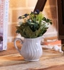 Blue Ceramic Mini Pitcher with Artificial Flowers by Importwala