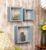 Blue Hand Painted MDF Wall Shelves - Set of 3 by Importwala