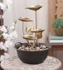 Brown & Gold Metal 4 Leaf Without Led Fountain by Importwala