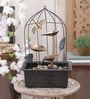 Importwala Brown & Gold Metal Cage with Led Light Fountain