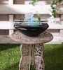 Black Glass & Ceramic Led Light Indoor Fountain by Importwala