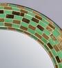 Green Wood & Glass Round Mosaic Mirror by Importwala