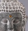 Importwala Grey Polyresin Buddha Head on Square Pedestal