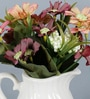 Pink Ceramic Mini Pitcher with Artificial Flowers by Importwala