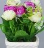 Purple Ceramic Pretty Artificial Flower in Pots by Importwala