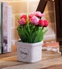 Red & Pink Ceramic Pretty Artificial Flower in Pots by Importwala