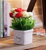 Importwala Red & Yellow Ceramic Rosy Artificial Flower in Pots