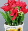 Red Ceramic Artificial Flower Decorative Pot by Importwala