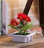 Red Iron Artificial Cala Lily Flowers with Pot by Importwala