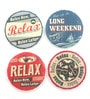 Importwala Relax Multicolour Ceramic Coaster - Set of 4