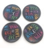 Importwala Typo Multicolour Ceramic Coaster - Set of 4