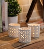 White Ceramic Lace Tea Light Holder - Set of 3 by Importwala