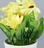 Importwala Yellow Ceramic Artificial Flower in Decorative Pot