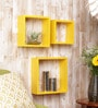 Yellow Cube MDF Wall Shelves - Set of 3 by Importwala