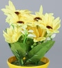 Yellow Iron Artificial Flower in Pot by Importwala