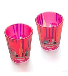 India Circus Three Wheeled Coupe Frosted Glass 30 ML Shot Glasses - Set Of 2
