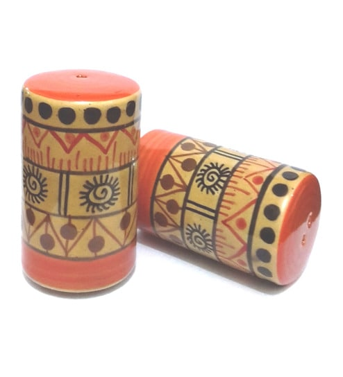 Indeasia Srijan Multicolor Ceramic 50 ML Salt And Pepper Shaker - Set of 2