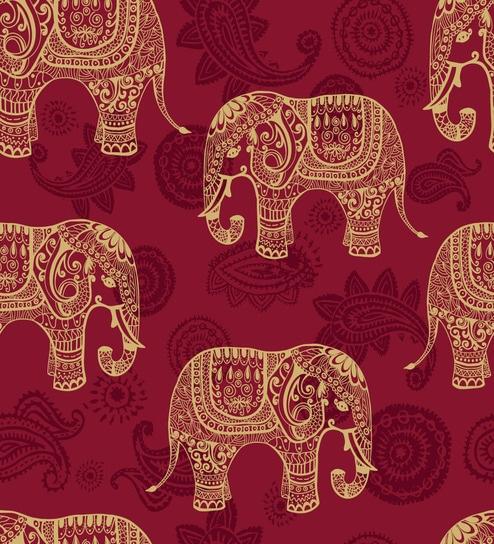 Print A Wall Paper Indian Elephants PVC Free Wallpaper