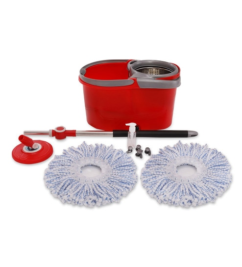 Indolax Plastic Red 360 Degree Cleaning Mop With Bucket & Microfibre Refill