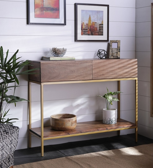 Industrial Style Console Table In Golden Finish By Asian Arts