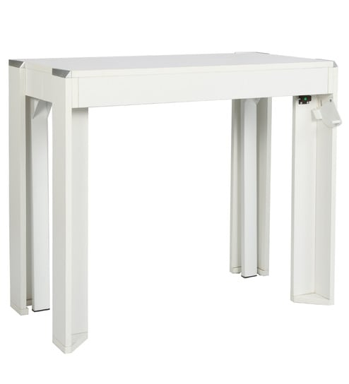 Buy Inside Convertible Console Cum Dining Table In White Colour By