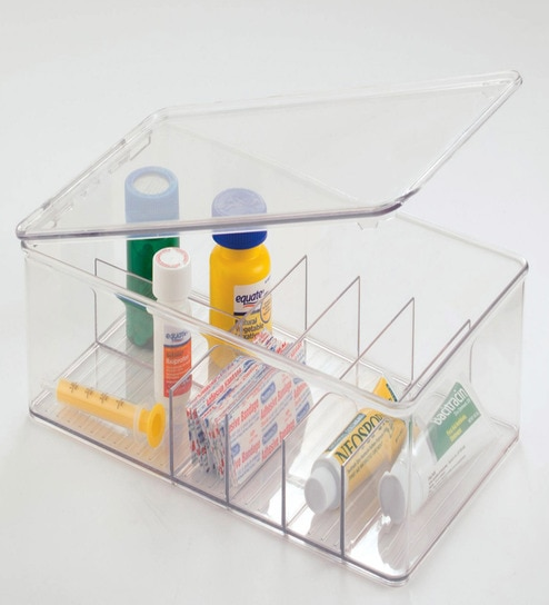 Bathroom Storage And Organisers buy interdesign clarity bathroom divided storage box & medicine