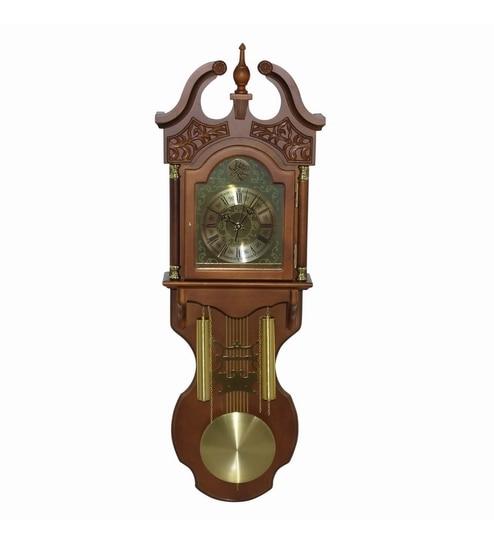 Invogue Brown Golden Vintage Wall Clock