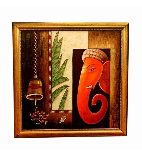 Buy Invogue Ganesha Oil Painting On Canvas Online ...