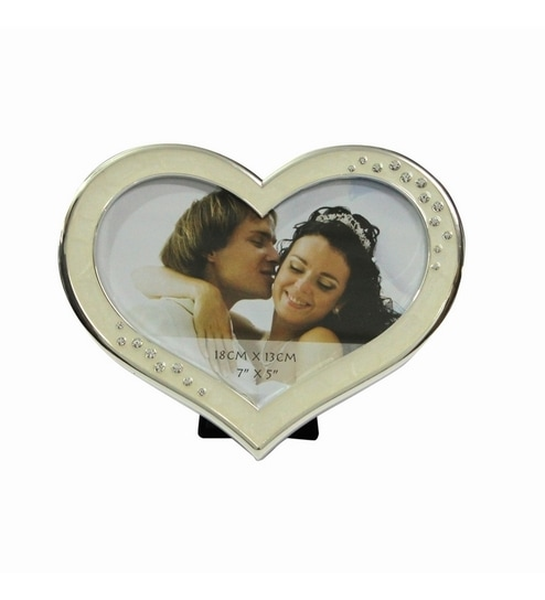 Invogue White Silver Coloured Heart Shaped Photo Frame By Invogue