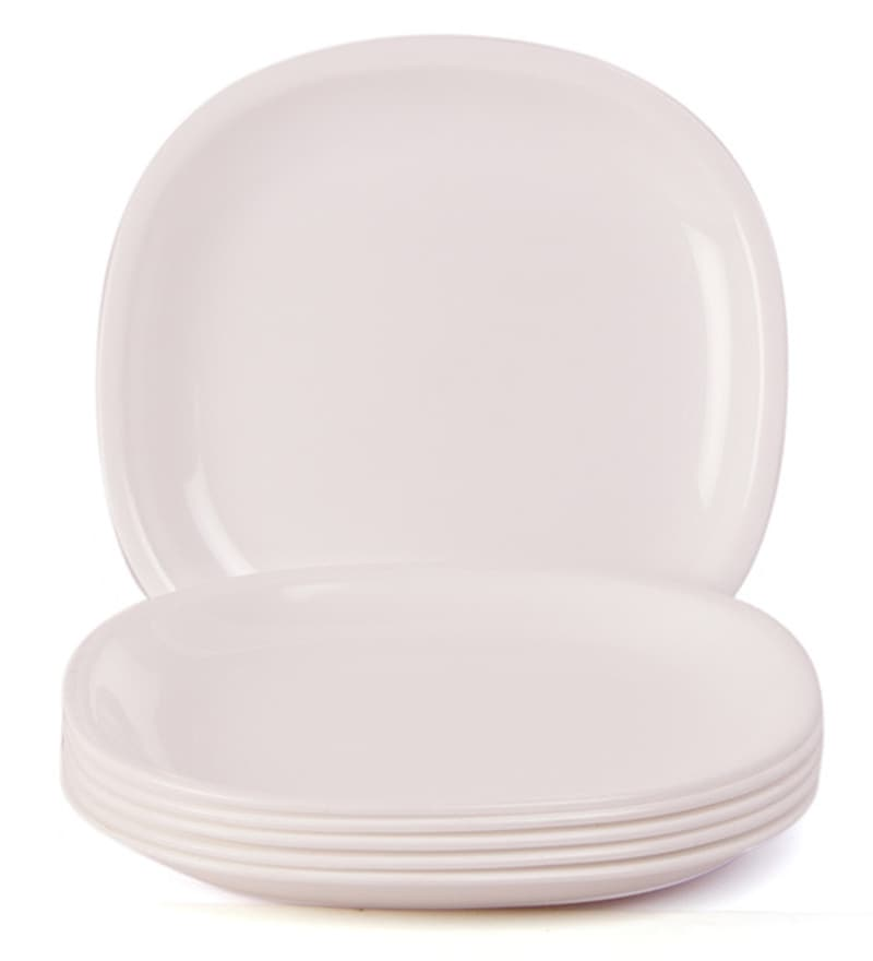 Click to Zoom In/Out  sc 1 st  Pepperfry & Buy Incrizma White Plastic Square Dinner Plates - Set of 12 Online ...