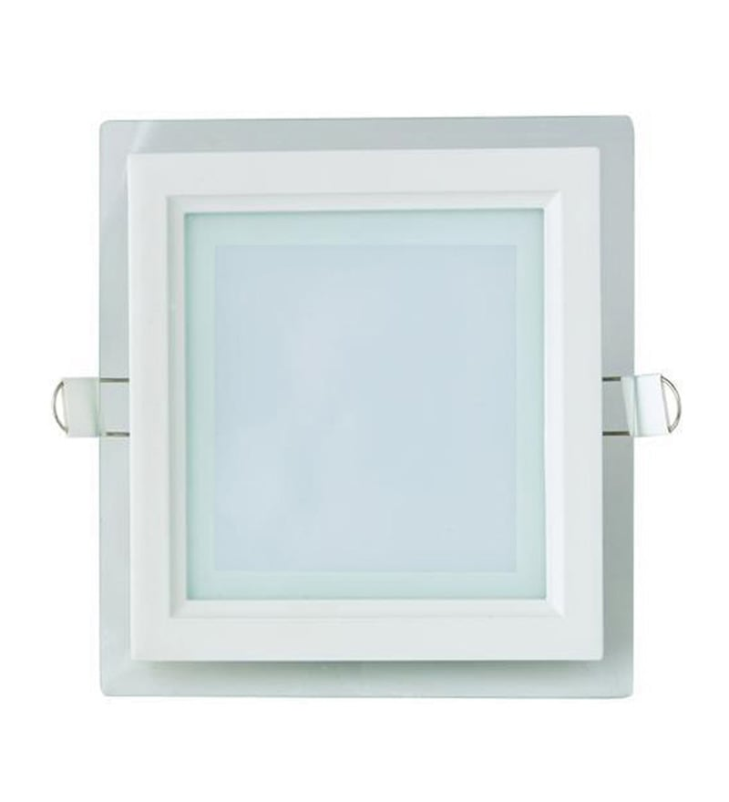 Square White 18W LED Glass Panel Light by Inddus