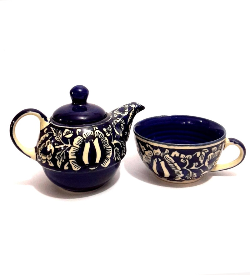 Indeasia Srijan Blue Stoneware Floral Teapot with Cup