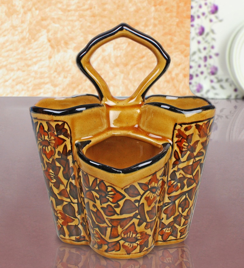 Indeasia Srijan Floral Stoneware Spoon Stand