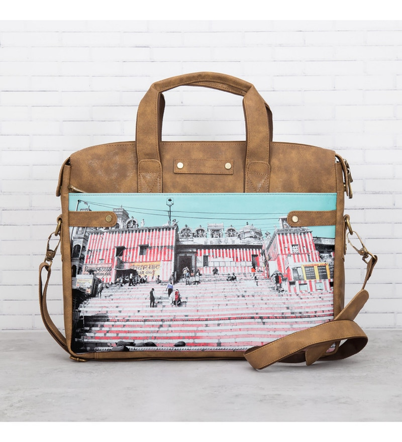 India Circus Charm of Chaos Faux Leather Multicolour Laptop Bag