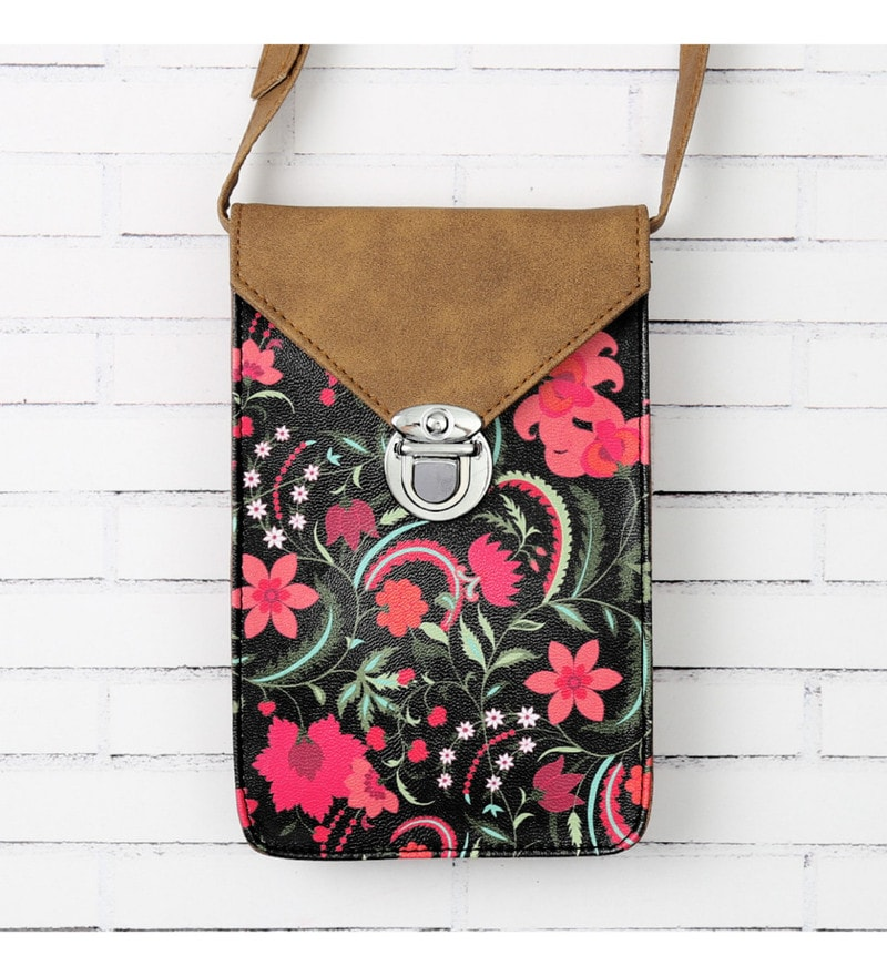 India Circus Floral Ecstasy Faux Leather Multicolour Small Sling Bag